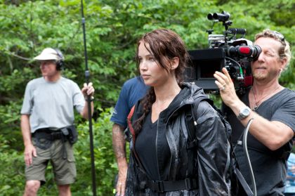 Jennifer Lawrence onset for The Hunger Games